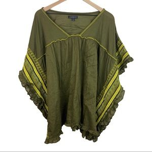 Lane Bryant Green Embroidered Poncho 18/20
